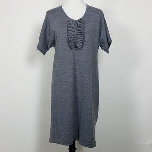 Lacoste Gray Sweater Dress Ruffle Accent Size 12